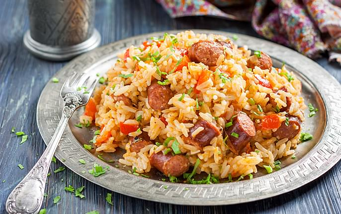 Showboat Brand Sausage with Rice